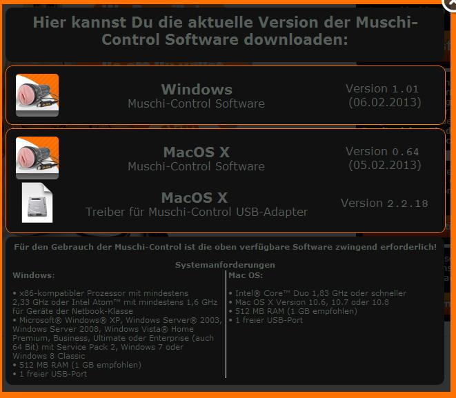 Gummimuschi Control Software download